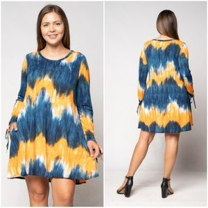 Dresses & Skirts - Plus Size - Orange & Blue Tye Dye Long Sleeve